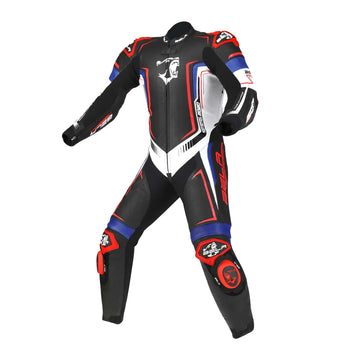 Bela Beast High Performance Motorcycle Racing 1PC Leather Suit - Black/White/Blue/Red