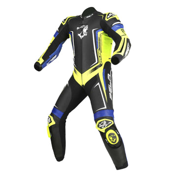Bela Beast High Performance Motorcycle Racing 1PC Leather Suit - Black/Yellow/Blue