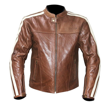 Bela Fresco Mens Leather Brown MotorBike Jacket - DublinLeather