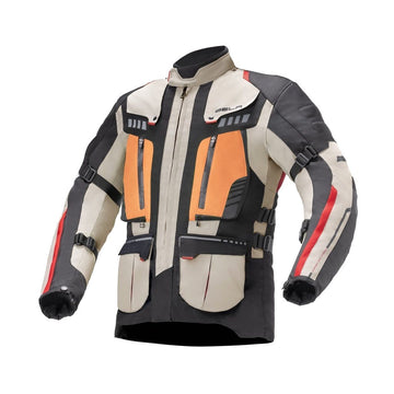 Bela Hailstorm Cream/Black/Orange Motorcycle Waterproof Textile Jacket - DublinLeather