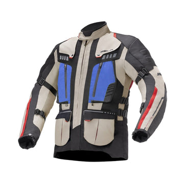 Bela Hailstorm Beige/Black/Blue Motorcycle Waterproof Textile Jacket