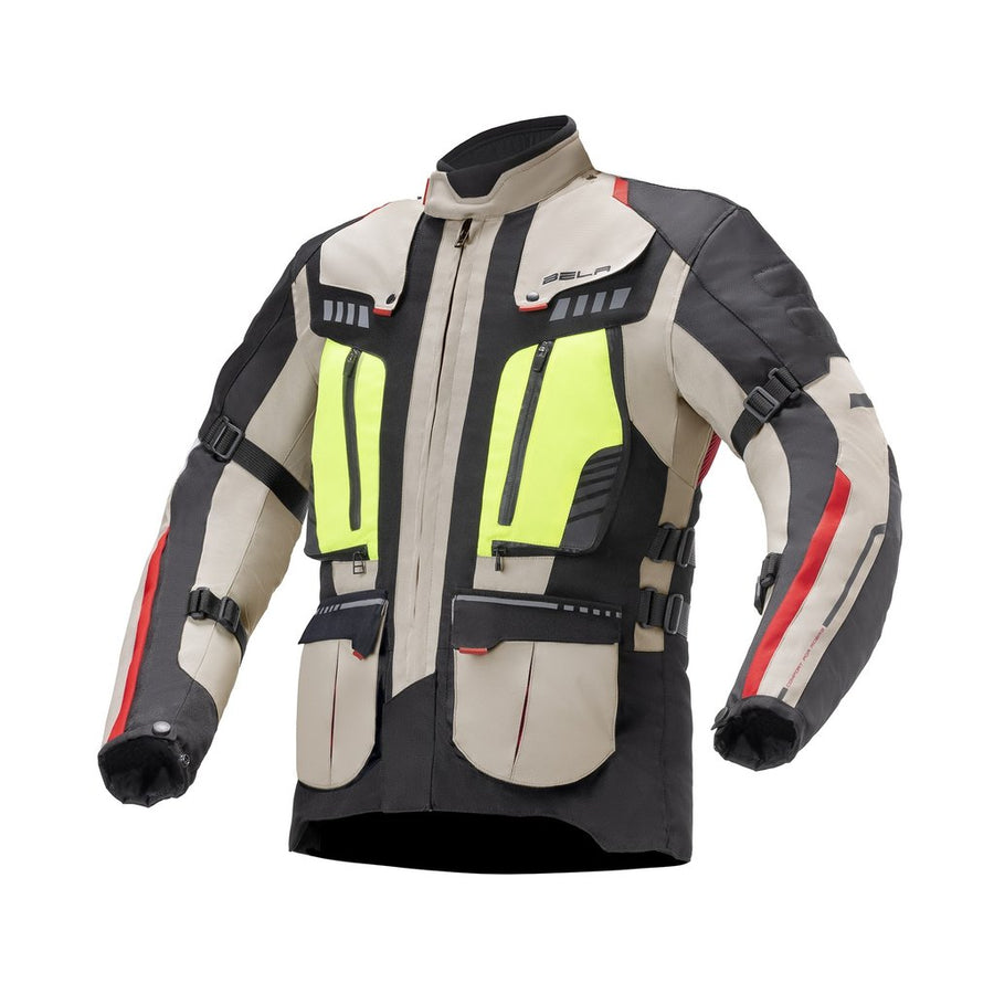Bela Hailstorm Beige/Black/Fluro-Yellow Motorcycle Waterproof Textile Jacket