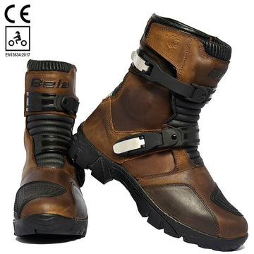 Bela Junior Waterproof Motorcycle Touring Leather Boots - Brown - DublinLeather