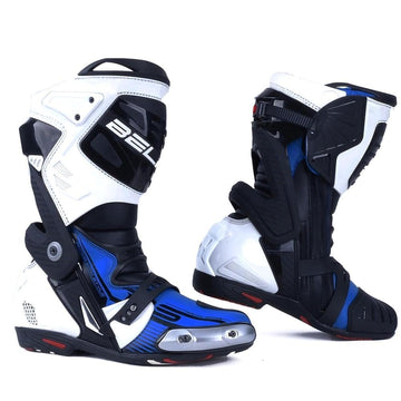 Bela Race Pro Motorcycle Racing Boots - Blue - DublinLeather