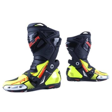 Bela Race Pro Motorcycle Racing Boots - Fluro Yellow - DublinLeather
