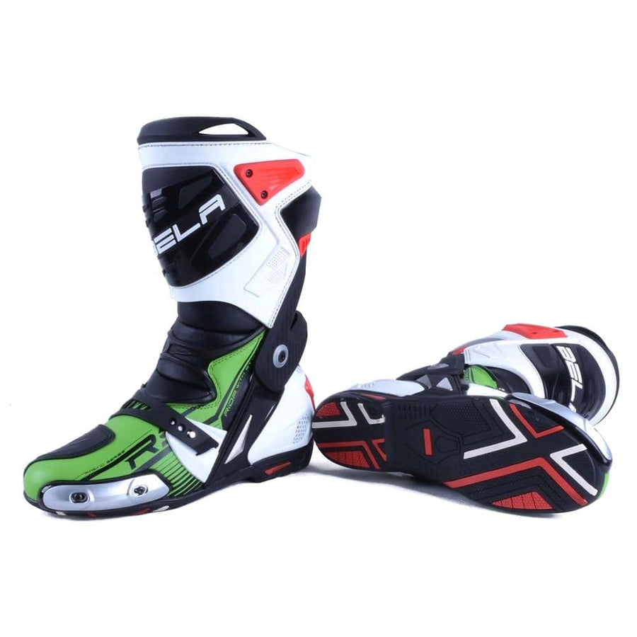 Bela Race Pro Motorcycle Racing Boots - Green - DublinLeather