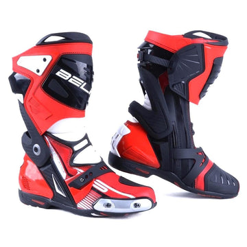 Bela Race Pro Motorcycle Racing Boots - Black/Red/White - DublinLeather