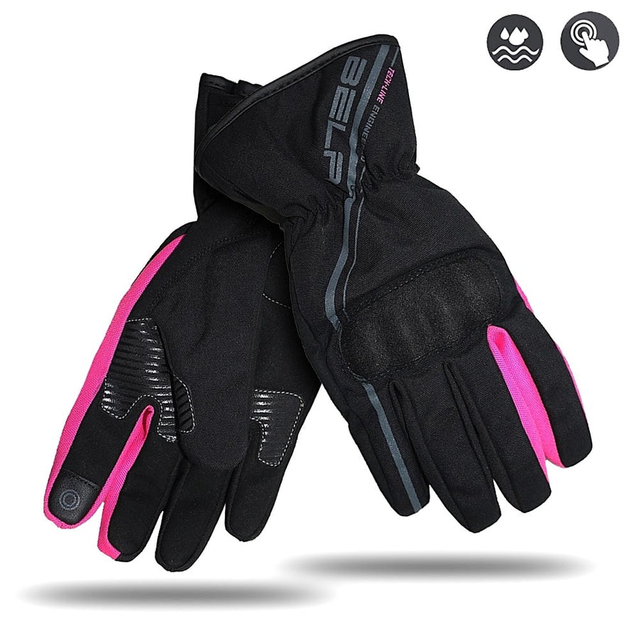 Bela Rebel Lady Motorcycle Winter Waterproof Textile Gloves (Black/Pink) - Touch Screen Compatible Sale Online Dublin Leather Ireland UK Germany Europe