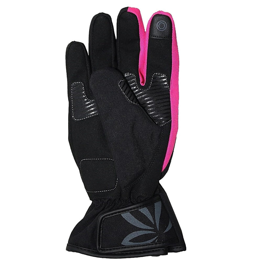 Bela Rebel Lady Motorcycle Winter Waterproof Textile Gloves (Black/Pink) - Touch Screen Compatible - DublinLeather