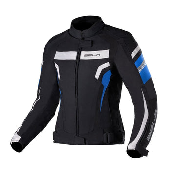 Bela Rebel Lady Rider Waterproof Textile Jacket - Black/Blue - DublinLeather