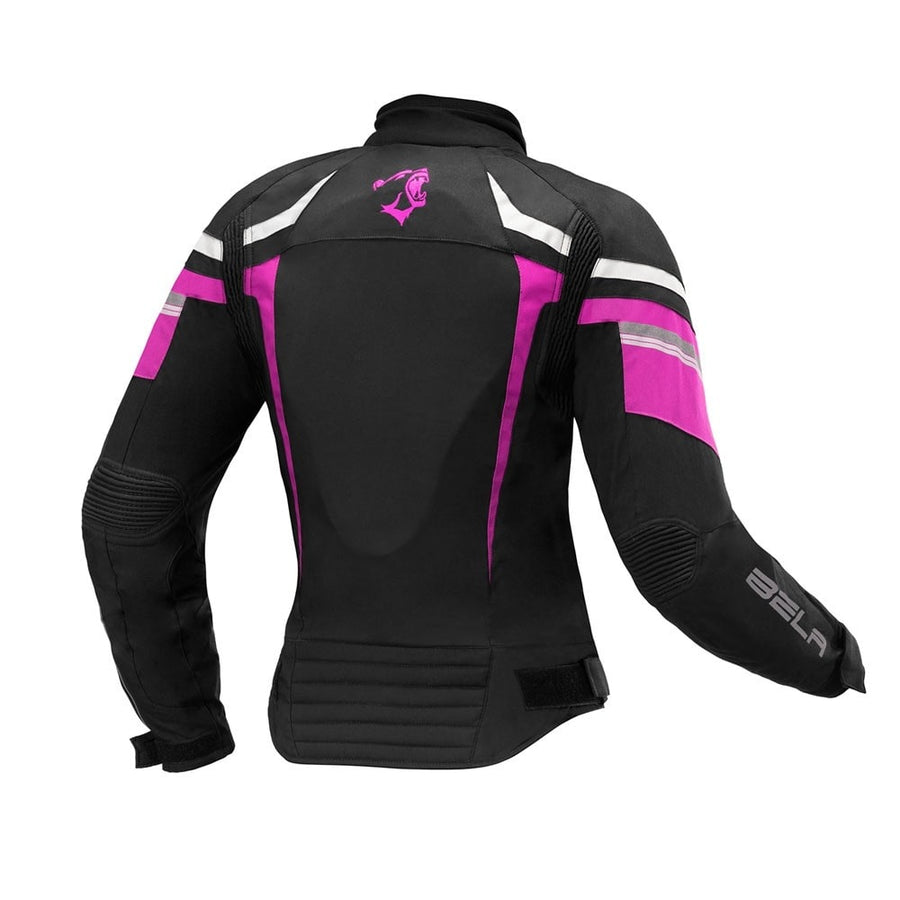 Bela Rebel Lady Rider Waterproof Textile Jacket - Black/Gun Metal/Grey/Fuchsia - DublinLeather