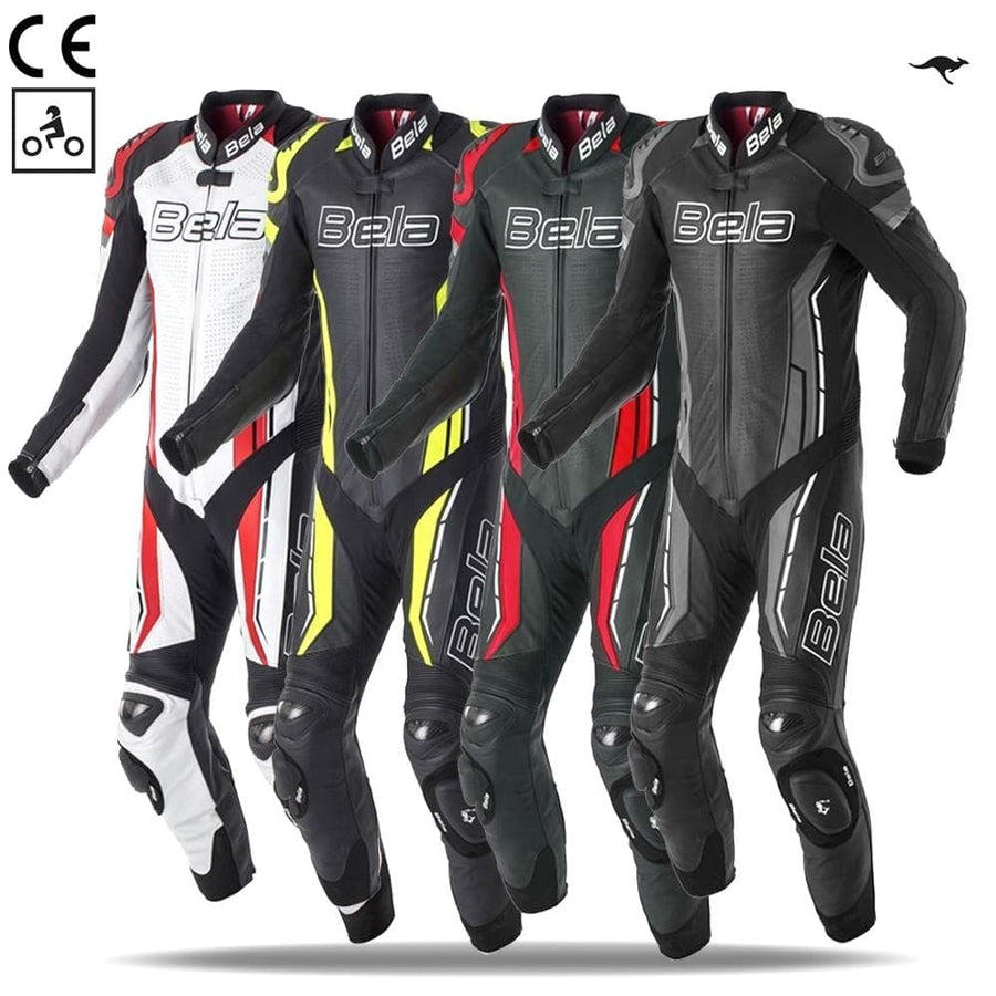 Bela Rocket Motorcycle Mix Kangaroo Leather Racing Suit - CE Certified - (Black/Fluro Yellow) - DublinLeather