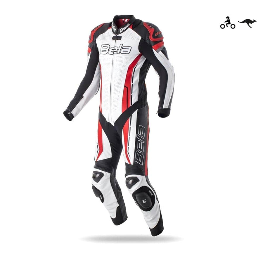Bela Rocket Motorcycle Mix Kangaroo Leather Racing Suit - CE Certified - (White/Black/Red) - DublinLeather