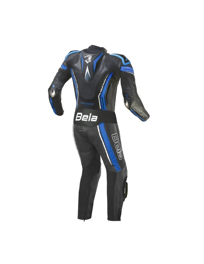 Bela Rocket 1pc Motorcycle Mix Kangaroo Leather Racing Suit (Black/Blue) - DublinLeather