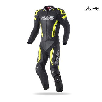 Bela Rocket 2PC Motorcycle Cow/Kangaroo Leather Racing Suit - CE Certified - (Black/Floro Yellow) - DublinLeather