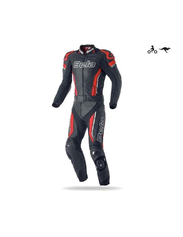 Bela Rocket 2PC Motorcycle Cow/Kangaroo Leather Racing Suit - CE Certified - (Black/Red) - DublinLeather