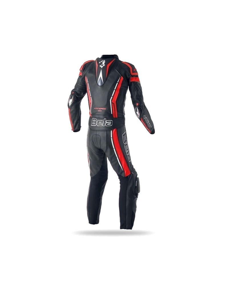 Bela Rocket 2PC Motorcycle Cow/Kangaroo Leather Suit - CE Certified - (Black/Red) - DublinLeather