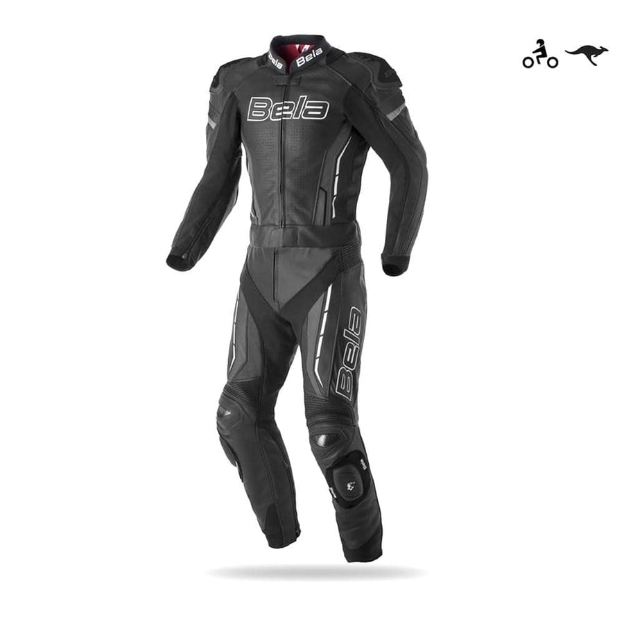 Bela Rocket 2PC Motorcycle Cow/Kangaroo Leather Suit - CE Certified - (Black/Charcoal Grey) - DublinLeather