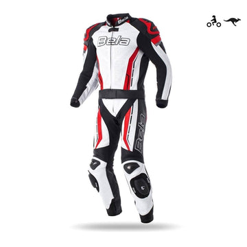 Bela Rocket 2PC Motorcycle Cow/Kangaroo Leather Suit - CE Certified - (White/Black/Red) - DublinLeather
