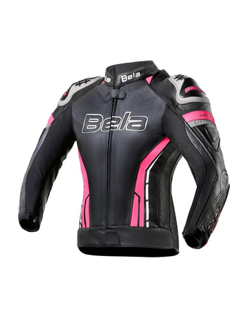 Bela Rocket Motorcycle Mix Kangaroo Leather Ladies Jacket for 2PC - CE Certified - (Black/Pink) - DublinLeather