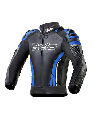Bela Rocket Motorcycle Mix Kangaroo Mens Leather Jacket for 2PC (Black/Blue) - DublinLeather