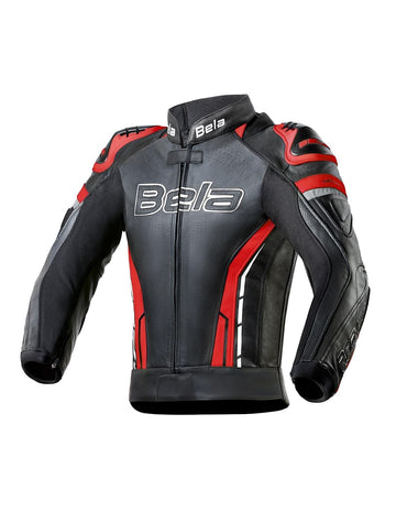 Bela Rocket Motorcycle Mix Kangaroo Mens Leather Jacket for 2PC (Black/Red) - DublinLeather