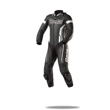 Bela Rocket Kids Motorcycle Premium Cowhide-Kangaroo Mix Racing Leather Suit - CE Certified -  (Black/White) - DublinLeather