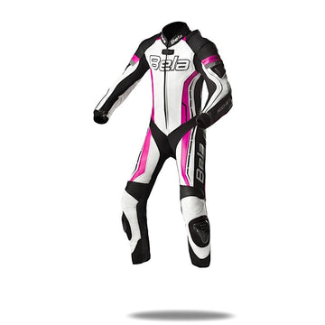 Bela Rocket Kids Motorcycle Premium Cowhide-Kangaroo Mix Racing Leather Suit - CE Certified -  (White/Pink/Black) - DublinLeather