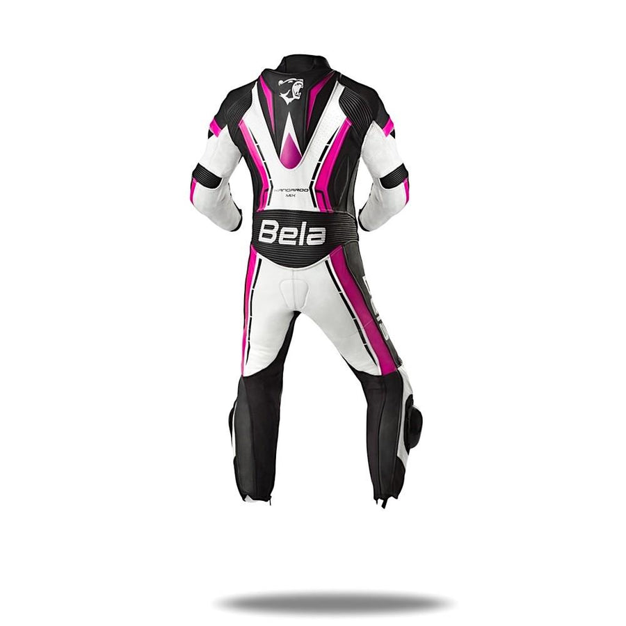 Bela Rocket Kids Motorcycle Premium Cowhide Racing Leather Suit on Sale online Dublin Ireland UK (White/Pink/Black)