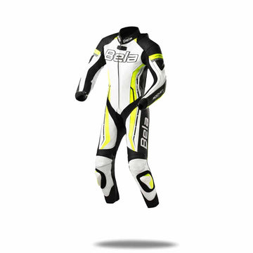 Bela Rocket Kids Motorcycle Premium Cowhide-Kangaroo Mix Racing Leather Suit - CE Certified - (White/Black/Yellow) - DublinLeather