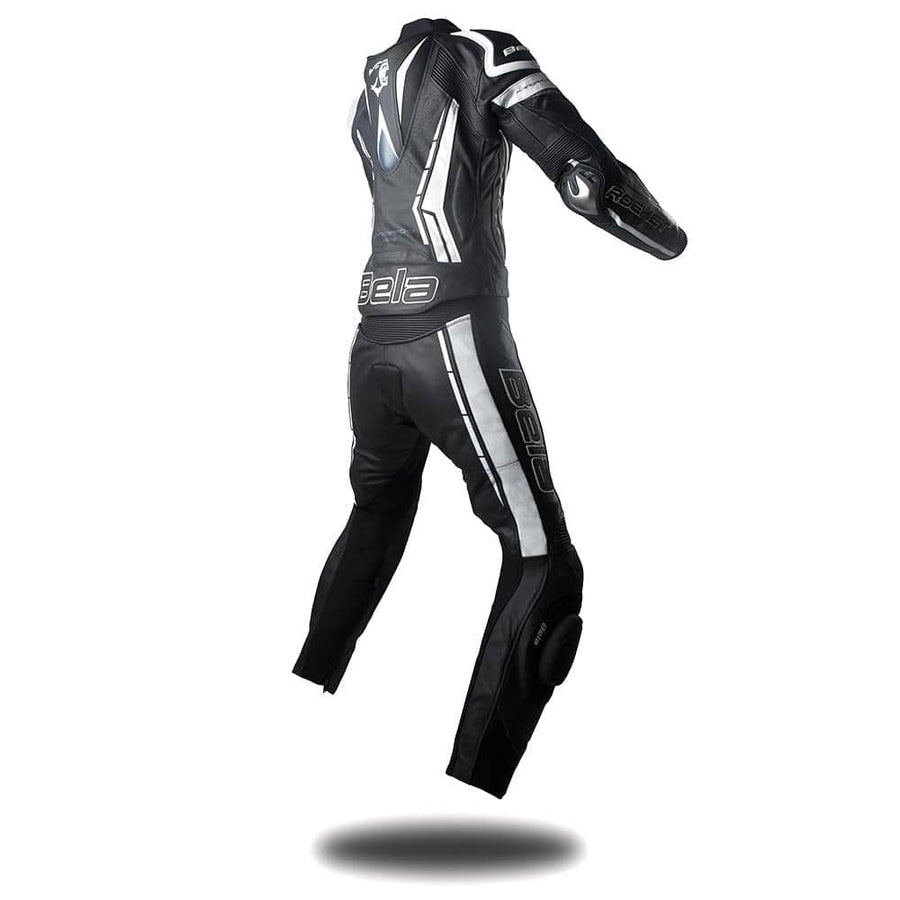 Bela Rocket Lady 2PC Motorcycle Cow/Kangaroo Leather Suit - CE Certified - (Black/White) - DublinLeather