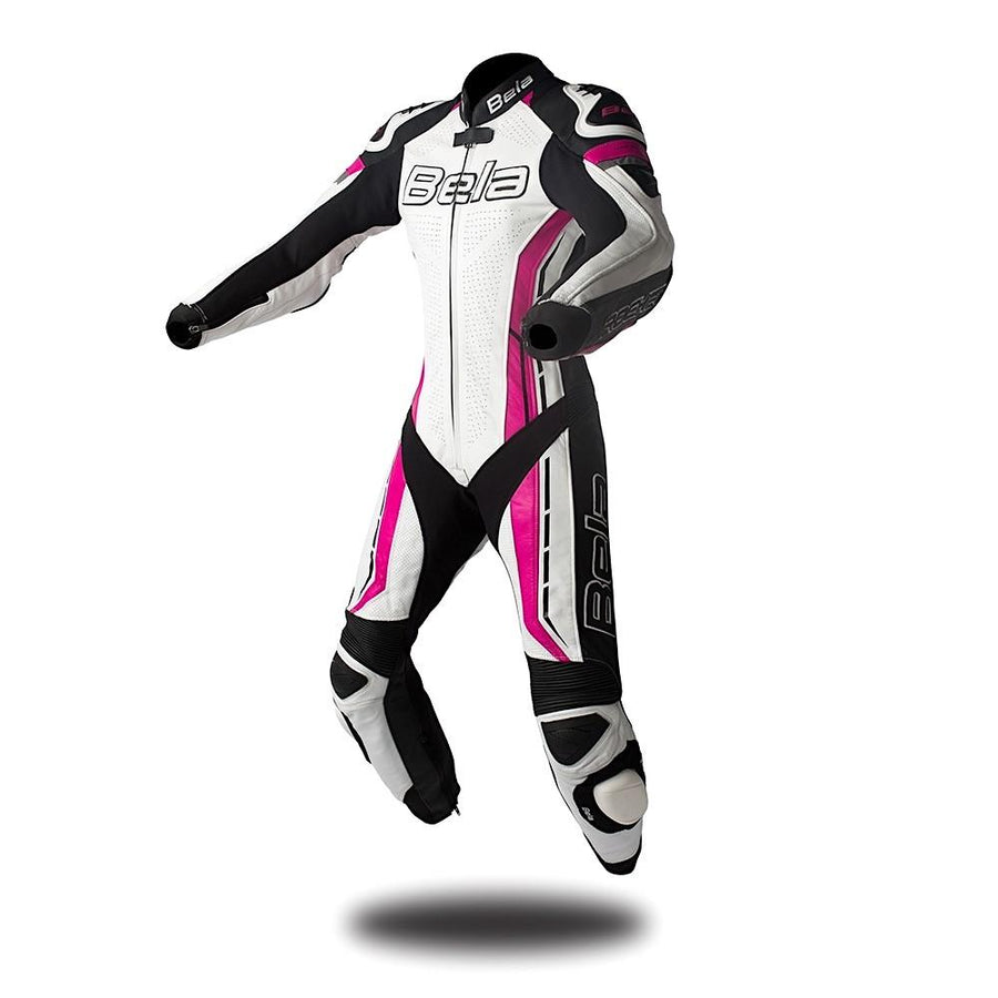 Bela Rocket Lady Biker Mix Kangaroo Leather Racing Suit - CE Certified - (White/Pink/Black) - DublinLeather