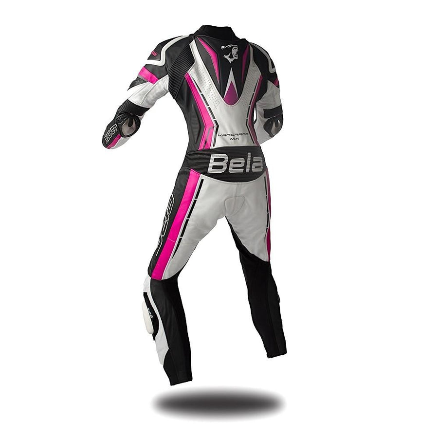 Bela Rocket Lady Biker Cow/Kangaroo Mix Leather Racing Suit on Sale online Dublin Ireland UK (White/Pink/Black)