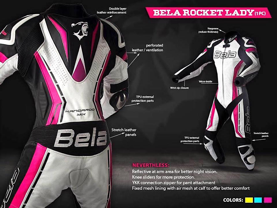 Bela Rocket Lady Biker Mix Kangaroo Leather Racing Suit (White/Pink/Black)