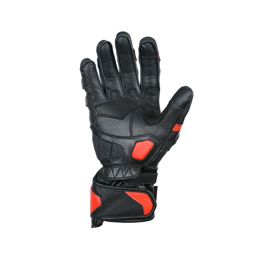 Bela Rocket Long Motorcycle Racing Gloves - Black/Red - DublinLeather
