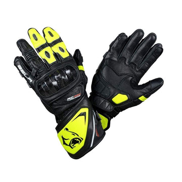 Bela Rocket Long Motorcycle Racing Leather Gloves (Black/Fluro Yellow) Sale Online Dublin Leather Ireland UK Germany Europe