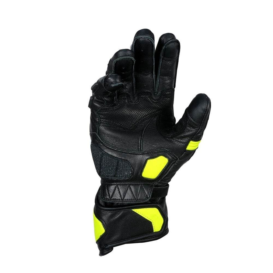 Bela Rocket Long Motorcycle Racing Gloves - Black/Fluro Yellow - DublinLeather