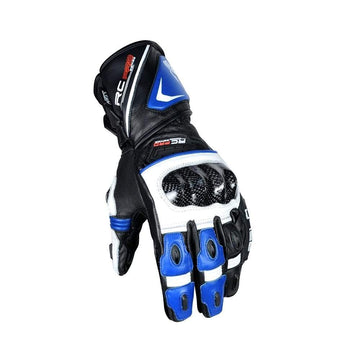 Bela Rocket Long Motorcycle Racing Gloves - Black/Blue/White - DublinLeather