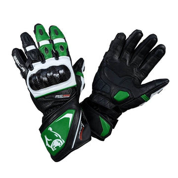 Bela Rocket Long Motorcycle Racing Gloves - Black/Green/White - DublinLeather