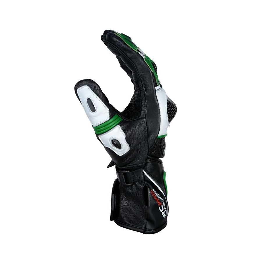 Bela Rocket Long Motorcycle Racing Leather Gloves (Black/Green/White) Sale Online Dublin Leather Ireland UK Germany Europe
