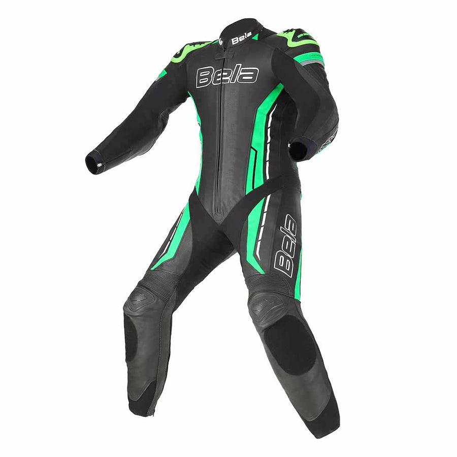 Bela Rocket Motorcycle Cow/Kangaroo Leather Racing Suit (Black/Green)