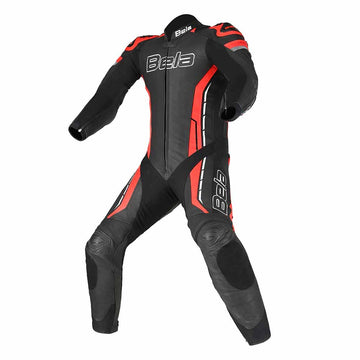 Bela Rocket 1pc Motorcycle Mix Kangaroo Leather Racing Suit - CE Certified - (Black/Red)