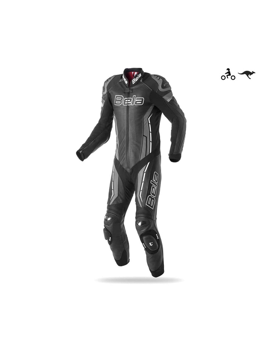 Bela Rocket Motorcycle Mix Kangaroo Leather Racing Suit - CE Certified - (Black/Charcoal Grey) - DublinLeather