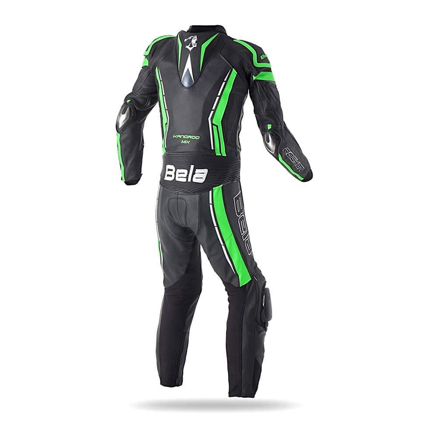 Bela Rocket Motorcycle Cow/Kangaroo Leather Racing Suit - CE Certified - (Black/Green) - DublinLeather