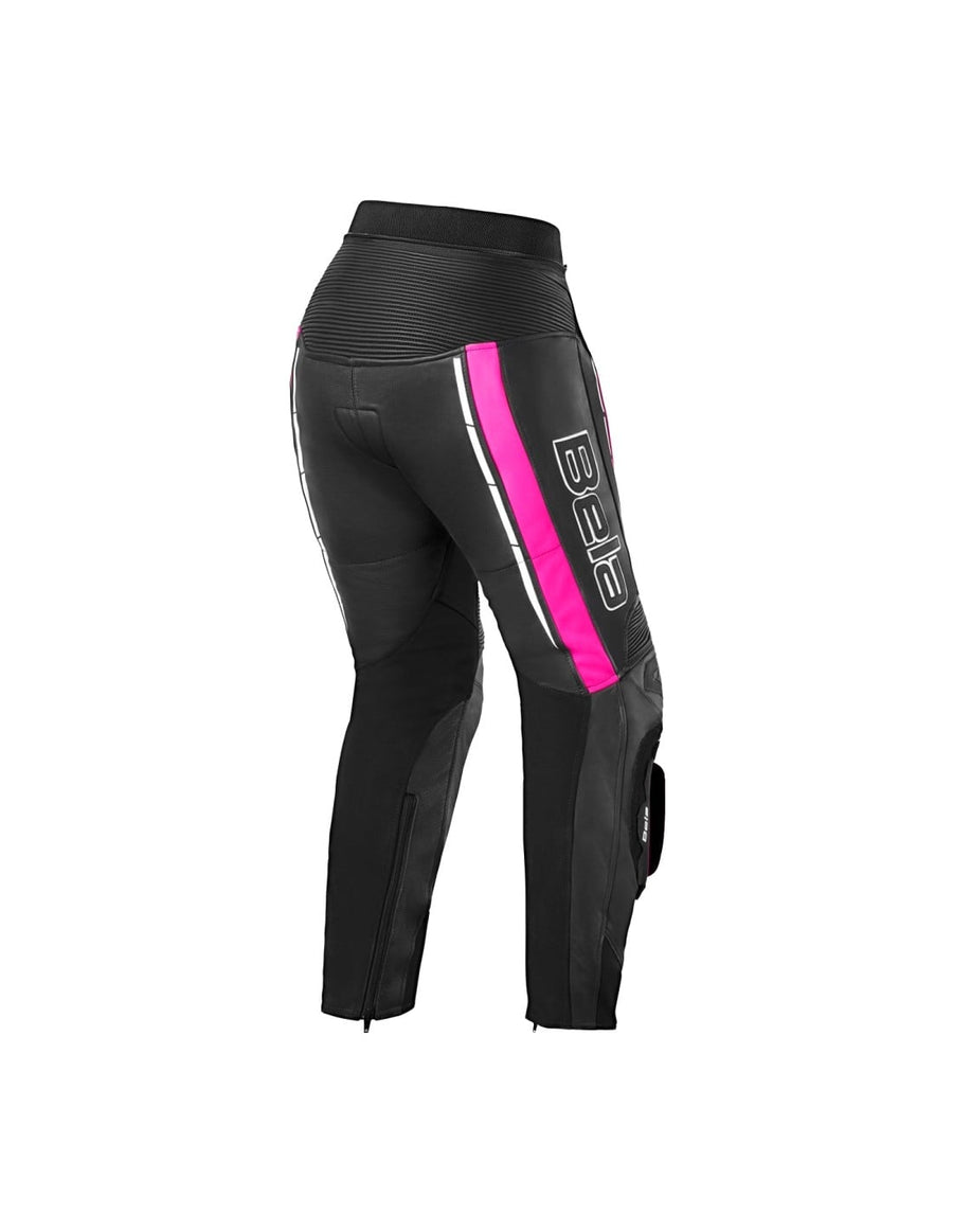 Bela Rocket Motorcycle Mix Kangaroo Leather Ladies Pants for 2PC (Black/Pink) - DublinLeather