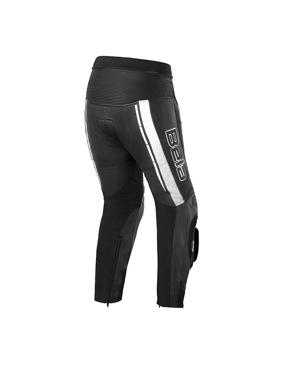 Bela Rocket Motorcycle Mix Kangaroo Leather Ladies Pants for 2PC (Black/White) - DublinLeather
