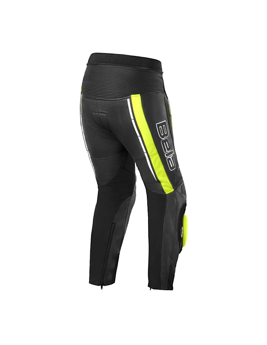 Bela Rocket Motorcycle Mix Kangaroo Leather Ladies Pants for 2PC (Black/Fluro Yellow) - DublinLeather