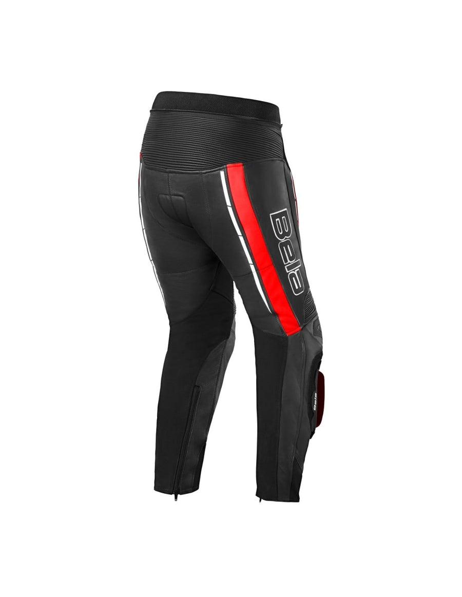 Bela Rocket Motorcycle Mix Kangaroo Mens Leather Pants for 2PC (Black/Red) - DublinLeather