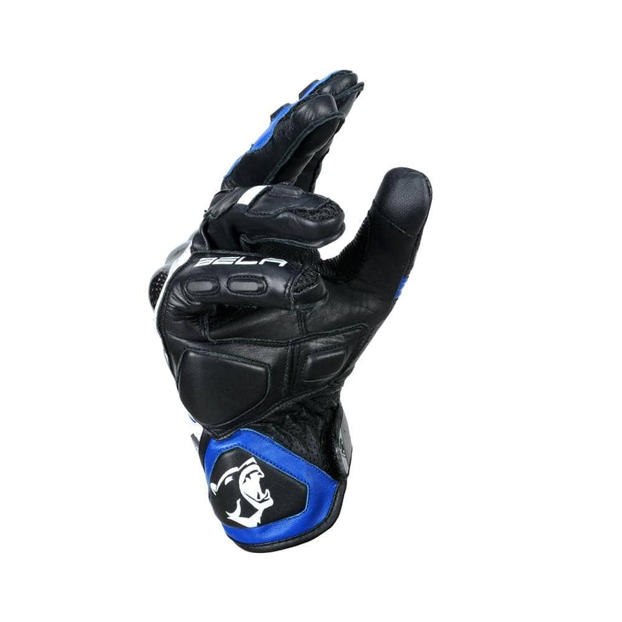 Bela Rocket Short Motorcycle Racing Gloves - Black/Blue/White - DublinLeather