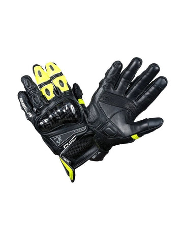 Bela Rocket Short Motorcycle Racing Gloves - Black/Fluro Yellow - DublinLeather